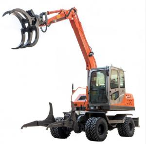 Quality 6.5 Ton Wood Loader Wheel Excavator With Log Grapple for sale