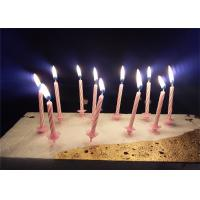 Quality Candy Stripes Spiral Birthday Candles Pink Paraffin Wax With 20 pcs Holders for sale