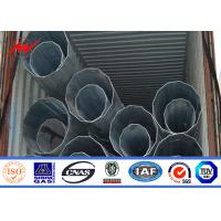 Best 9m 11m 12m Galvanized Steel Electrical Power Pole Bitumen With Cross Arms wholesale
