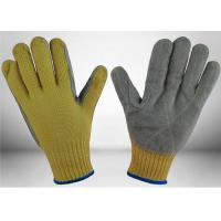 Quality Cow Split Leather Cut Resistant Gloves 7 Gauge Aramid Knitted Fully Protective for sale
