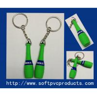 Quality Eco-Friendly Plastic Personalized Key Chains / Silicone Keyring Bottle Shape with OEM Logo for sale