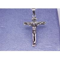 Quality Stainless Steel Jesus Cross Jewelry Necklace Pendant High Polished 55cm Length for sale