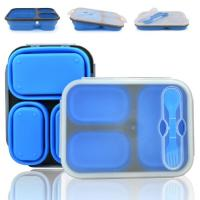 Buy cheap Easy to clean leakproof folding 3 compartments collapsible silicone lunch box from wholesalers