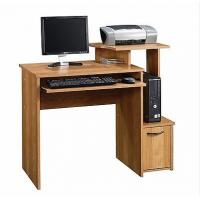 China Small Oak Home Furniture Laptop Workstation Wooden Office Desks , Storage Shelf DX-8693 on sale