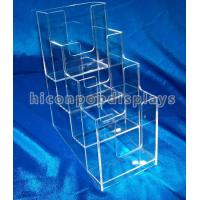 China Brochure / Leaflet 4mm Acrylic Display Case Trade Show Brochure Stands Table Top on sale