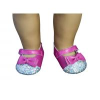 China Cerise Paillette Head Doll Shoes with Bowknot , 18 inch Doll Doll Stylish Design on sale