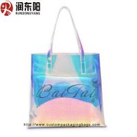 China PVC laser Packaging Bags Stand Up Pouch Heat Sealing Handle for women shopping or gift packaging on sale