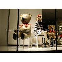 Buy Life Size Window Display Decorations Spray Color Finish Fiberglass Teddy Bear Statue at wholesale prices
