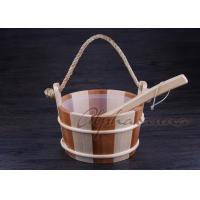 Best Smoothy Carved  Sauna  Pail Bucket and Spoon Set with Liner For Dry Sauna Room Accessories wholesale