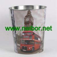 Quality London Bus big ben telephone booth design metal tin storage bucket storage container for sale
