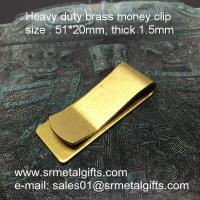 China Vintage brush brass money clips, heavy duty 1.5mm thick brass money clip wallet on sale