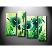 Quality Green Flower Set New Design Handmade Oil Painting On Wood Board, Canvas board hht1052 for sale