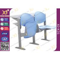 China Floor Mounted Iron Leg College Classroom Furniture With Reading Desk Hinge Type on sale