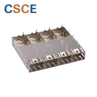 China 1 * 4 Cage Ports SFP Optical Connector Pipes Fiber Plug SFP Module Connector on sale