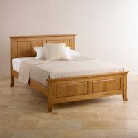 China rustic oak wood king bed with good design and 100% solid oak wood furniture on sale