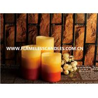 China Colorful And Mottled Finish Flameless LED Candles 3 Inch / 4 Inch Pillar Candles With Real Wax on sale