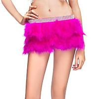 Quality Double Layer Skirt / Fabulous Feather Mini Skirt With Rhinestones Waist Band for sale
