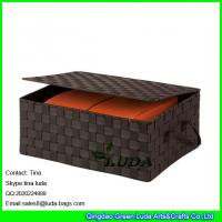 Best LDKZ-022 popular brown strap woven basket double woven storage box with hinged lid wholesale