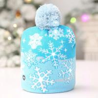 Quality Breathable Knitted LED Lamp Cap / White Snowflake Christmas Hat for sale