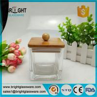 Best fancy square jar with lid, glass jar with bamboo lid and silicone ring wholesale
