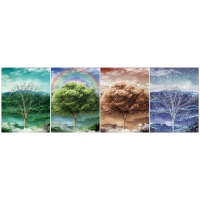 Quality 30x40cm Beautiful Four Season Trees Lenticular Flip With 0.6mm PET For Home Decoration for sale
