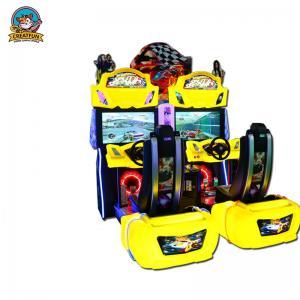 Quality Yellow Racing Simulator Arcade Machine , Fun Arcade Racing Game Machine for sale