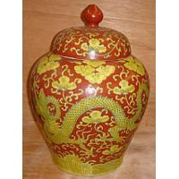 """Quality 15"""" coral red with yellow dragon jar for sale"""