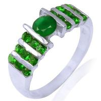 China 925 Sterling Silver Natural Emerald Gemstone Ring on sale