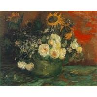 Impressionist(3830) Bowl with Sunflowers, Roses and Other Flowers