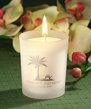 Buy Personalized Frosted glass candle holder with wax[Item# FCPS5863SA49] at wholesale prices