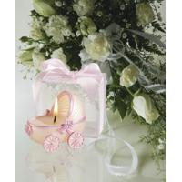 Quality Baby Carriage Candle with Pink Trim in Clear Box[Item# FC3853] for sale