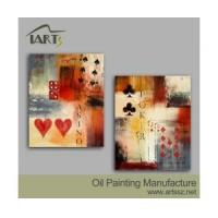 Buy cheap Handpainted Oil Painting Poker Face 2 Piece Group Design Painting from wholesalers