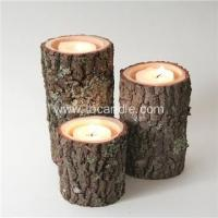 China Real Tree Wood Birch Log Tea-light Candle Holder unique gift on sale