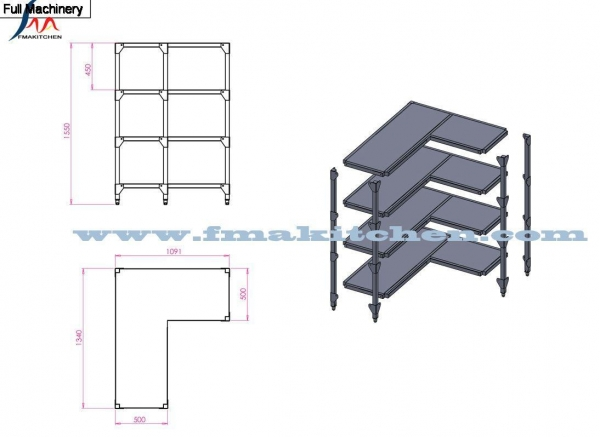 Cheap SS fabrication 4 tier rack for sale