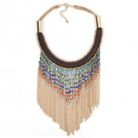 Buy cheap Necklaces Leather Alloy Collar Bead Necklace with Tassel Chain GNK10450 from wholesalers
