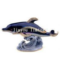 Quality TBP0084-dolphin jeweled enameled box vintage tabletop pewter collectibles for sale