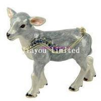 Quality TBP0115Q-goat animal trinket box hinged keepsake box animal figurine for sale