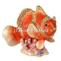 Quality TBP0019R-Clown fish crystal trinket box hinged keepsake box nautical gifts for sale