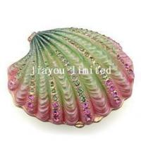 Quality TBP0068G-Scallop Shell jeweled jewelry treasure box vintage tabletop for sale