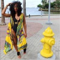 Quality African Vintage Yellow Dashiki Long Jacket 21383-3 for sale