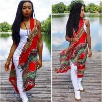 Quality African Vintage Red Dashiki Long Jacket 21383-2 for sale