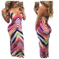 Quality Colorful Wavy Maxi Strapy Dress 21443 for sale