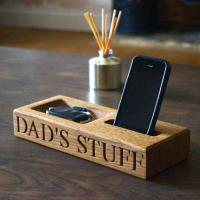 Personalised Oak Phone and Coin Tray