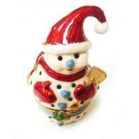 Christmas Snowman Metal Jewelry Box