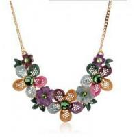 Quality Lady chic clothing accessories new design hollow rhinestone flower necklace fahsionable jewelry for sale