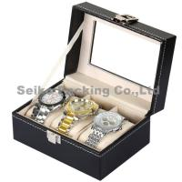 Quality Wholesale Black Letherette Watch Box 3 Grids with Pillows for sale