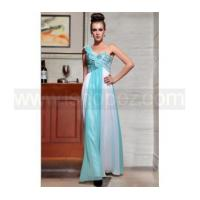 Quality New arrival blue white one shoulder long sequin prom dress for sale
