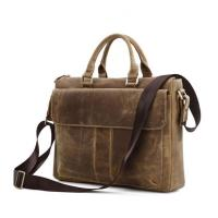 Quality China factory wholesale brown leather business laptop bag briefcase for man for sale