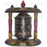 Ritual Objects Metal Prayer's Wheel with Wooden Stand