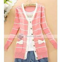 Quality Clothing, Shoes & Accessories Qooeen Cotton Slim Stripe Bowknot Long Sleeve Women Cardigan for sale